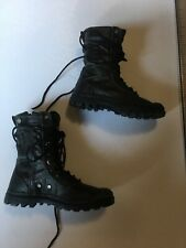 1/6 Scale Black Tactical Boots With Laces And Feet And Peg Inserts