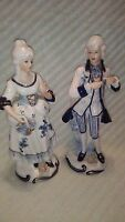 2 KPM Porcelain White and Blue Woman and Man Figurines Made in Japan