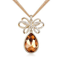 18K Gold GP Made With Swarovski Element Crystal Water Drop Necklace Gold
