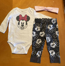 Disney Baby Jumping Beans Minnie Mouse Outfit Set Bodysuit Pants Headband 9M