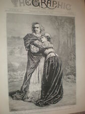Actors Henry Irving and Isabel Bateman in Richlieu Lyceum Theatre 1873 old print