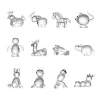 Clear Cute Crystal Glass Animal Figurine Paperweight Collection Home Decor Gift