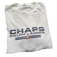 Chaps Ralph Lauren Vintage 90's Graphic T Shirt White Size Large