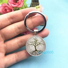Tree with Roots Art Photo Tibet Silver Key Ring Glass Cabochon Keychains -513