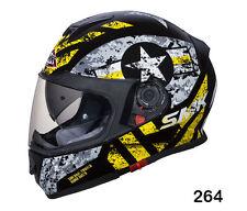 SMK Helmets-Twister-Captain Black Grey Yellow-Full Face Dual Visor Bike Helmet-M