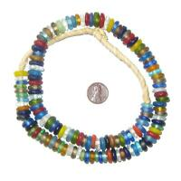 Mixed Rondelle Recycled Glass Beads 11mm Ghana African Sea Glass Multicolor Disk