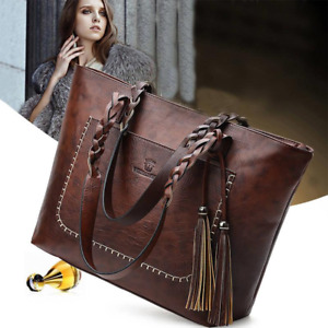 Fashion Women Faux Leather Handbags Tote Shoulder Bag Messenger Crossbody Purse