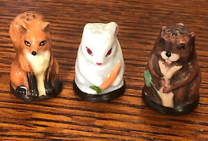 Thimbles 3 Friends of  the Forest Fox Rabbit Beaver