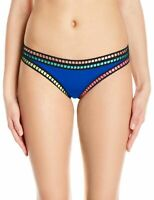La Blanca Womens Swimwear Blue Size 4 Embroidered Ruched Bikini Bottom $55 537