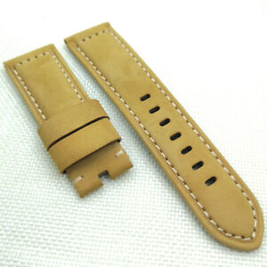 26mm 125/75mm Brown Calf Suede Leather Band PAM Strap for RADIOMIR LUMINOR Watch