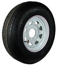 "15"" 6-5.5"" Bolt Circle White Spoke Wheel and ST22575R15D Radial Trailer Tire"