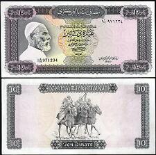 LIBYA 10  DINAR 1972 aVF P.37B SIGN 1 OMER EL MUKHTAR