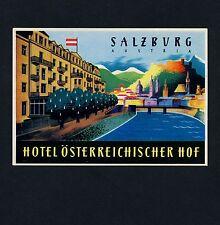 Hôtel Oesterreichischer Cour salzbourg Austria * Old Luggage label valise Autocollant