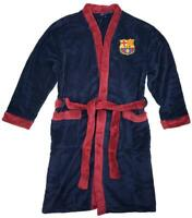 Mens Official BARCELONA Football FCB Fleece Dressing Gown Bathrobe  M L XL