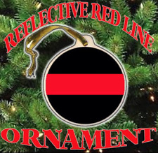 Thin Blue / Red Line Reflective Police Christmas Ceramic Ornament