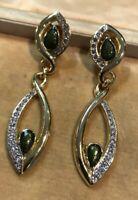 Vintage 1980s Statement Diamanté Green Enamel Drop Clip On Earrings