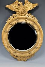 ANTIQUE FEDERAL GOLD CONVEX COLONIAL EAGLE & BALL MIRROR GESSO OVER WOOD