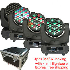 4pcs/lot 36x3W  LED Moving Head Light wash DJ Club Disco Stage Party event show