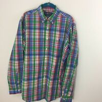 Ralph Lauren L Large Men's 100% Cotton Blue & Green Plaid Button Down Shirt