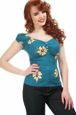 COLLECTIF MAINLINE Apricot Dolores 50s top in teal blue rockabilly Size 12 BNWT