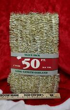 Vintage Christmas Tree Garland Gold and White Rauch 50' Made In Usa New on Card