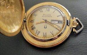 VINTAGE BULOVA ACCUTRON DAY DATE HUNTING  POCKET WATCH NON RUNNING AS IS PARTS