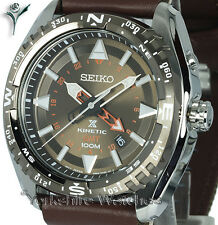 New SEIKO KINETIC GMT LAND BRONZE FACE Dual Time FABRIC BUCKLE STRAP SUN061P1