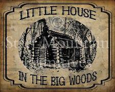 Primitive Little House in the Big Woods Prairie Cabin Vintage Print 8x10