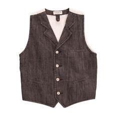 PAOLO PECORA JUNIOR Denim Waistcoat Size 12Y Contrast Back Button Front Y Neck