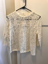 Ann Taylor Loft Women's Floral Lace Top w/ Bell Sleeves White Petite Medium MP