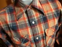 MEDIUM True Vtg 80s MACY'S RUSTY BROWN Wool Plaid Button-Front Camp Shirt