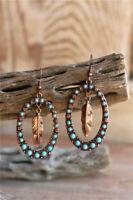 Ethnic 925 Silver Turquoise Ear Hook Dangle Drop Leaf Earrings Women Jewelry JP