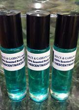 Dolce & Gabbana type 100% Scented Body Oil for Men. 3 Roll-On Bottles.