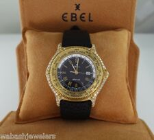 $13,500 Ebel Men Diamond 18K Yellow Gold Voyager Automatic World Time 41mm Watch