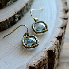 Smoky Gray Square Jewel Earrings - Antique Bronze Frame - Smokey Grey Glass