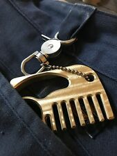 Brass Knuckles Wide tooth Beard Hair Comb Pendant Custom CNC Everyday Carry