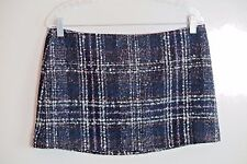 NWT Free People Violet Black Plaid Acrylic Wool Micro-Mini Skirt Size 8 MSRP $98