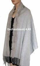 Luxurious Handmade Large 4-Ply 100% Cashmere Shawl w/ Fox Fur Trim, Light Gray