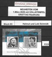 8324 Bund aus Jahrgang 2019  Block 83 VOLLSTEMPEL ERSTTAG RIEDLHÜTTE