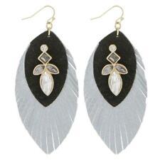 Black gray rhinestone feather earring