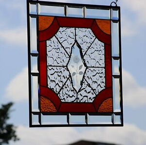 Cherry Red  Victorian Style Stained Glass Window Panel , Beveled