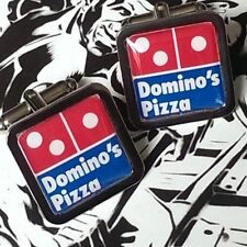 Unique! DOMINO'S PIZZA CUFFLINKS chrome FAST FOOD gift DAD novelty DELIVERY