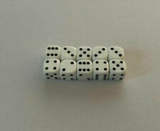 10x Six Sided Spot Dice D6 White - 10mm [For Board Games, Wargames, Rpg]