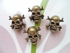 20pcs Metal Jeans Sew Button Day Of The Dead Sugar Skull Cross Antiqued Brass