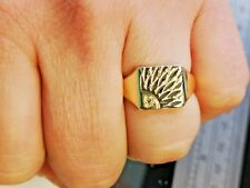 Solid Gold Signet Ring, mens jewellery, Hallmarked 9 carat gold gift for him #Mr