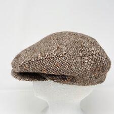 Vintage Mens Tweed Newsboy Cap Hat Brown Weaved Sz 7 3/8