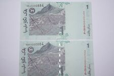 (PL) RM 1 0000884 UNC 4 ZERO 2 PCS RARE NICE FANCY LOW & LUCKY NUMBER PAPER NOTE