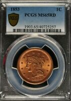 1853 - Braided Hair Large Cent - PCGS - MS65RD - 1903