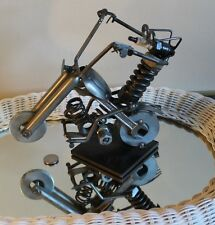 SPECTACULAR RECYCLED METAL ART SCULPTURE FOLK ART MOTORCYCLE UNIIQUE SGN DATED