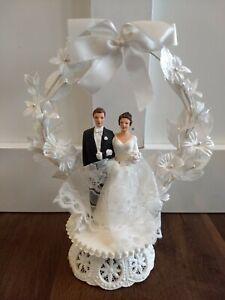 "Vintage Wedding Cake Topper Bride and Groom White Floral 8"""